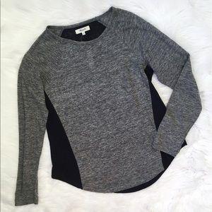 Madewell Blue Grey Linen Long Sleeve Tee Shirt